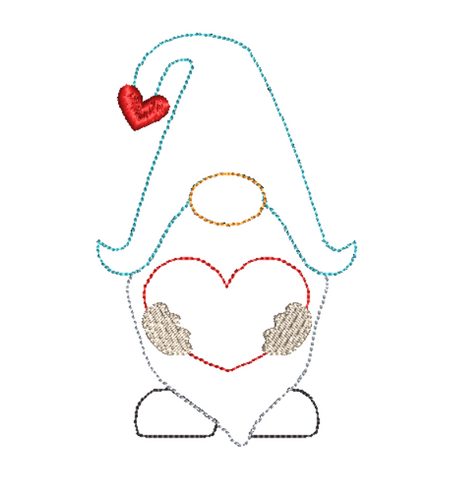 Gnome Heart Bean Stitch Applique Design