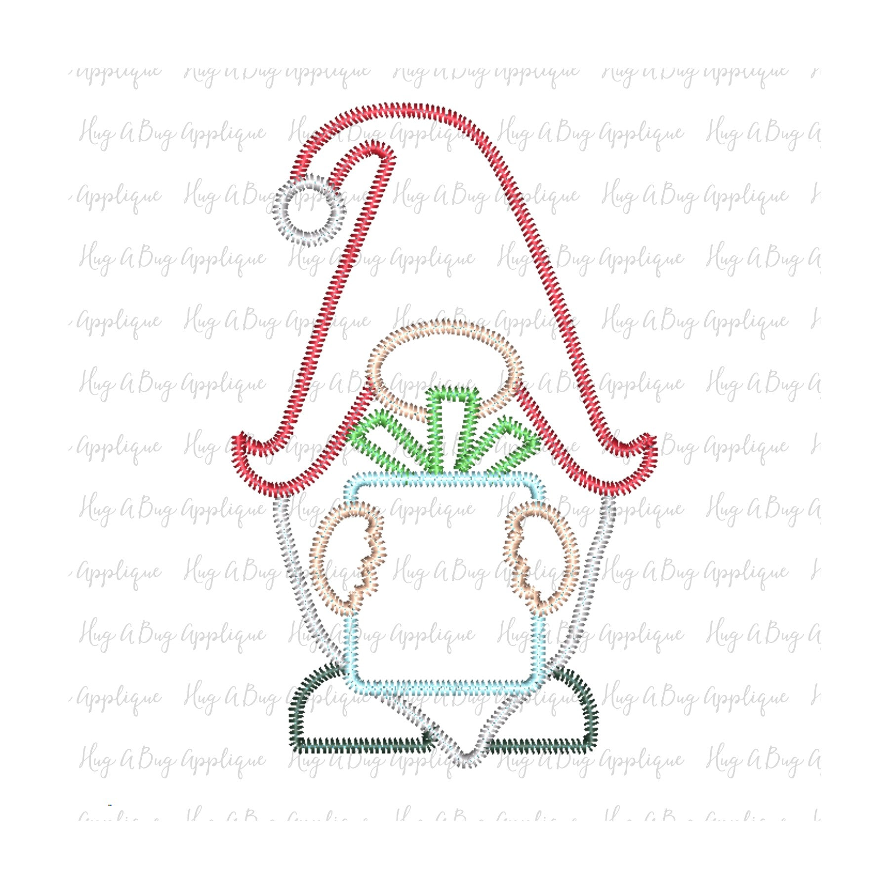 Gnome Gift Zig Zag Stitch Applique Design