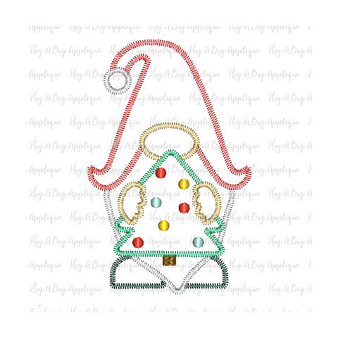 Gnome Tree Zig Zag Stitch Applique Design