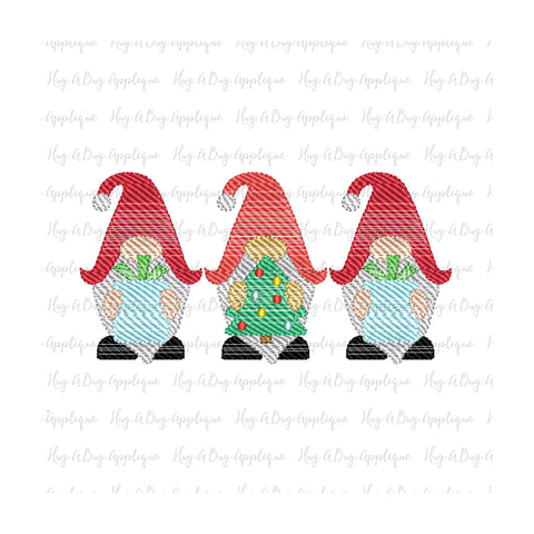Gnome Trio Sketch Stitch Embroidery Design