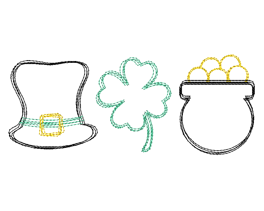 Hat Shamrock Pot Trio Scribble Sketch Embroidery Design