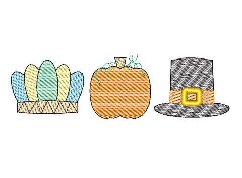 Headdress Pilgrim Pumpkin Trio Sketch