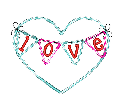 Heart Banner Zig Zag Stitch Applique Design