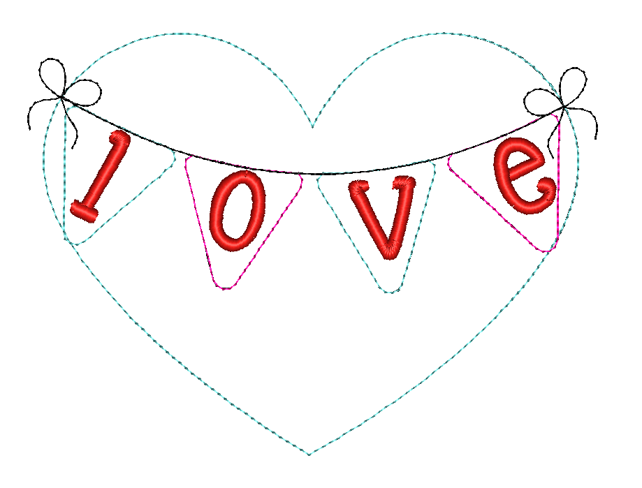 Heart Banner Bean Stitch Applique Design - Hug A Bug Applique Designs