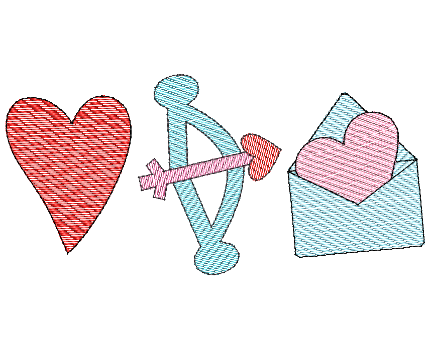 Heart Cupid Bow Letter Sketch Embroidery Design - Hug A Bug Applique Designs