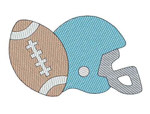 Helmet Football Sketch Embroidery Design