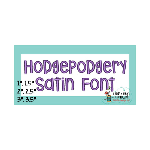 Hodgepodgery Satin Stitch Embroidery Font