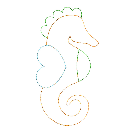 Seahorse Bean Stitch Applique Design