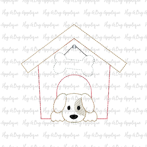 Dog House Bean Stitch Applique Design