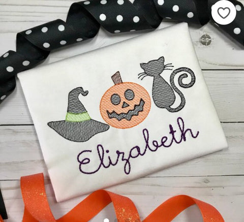 Witch Hat Pumpkin Cat Trio Sketch Embroidery Design - Hug A Bug Applique Designs