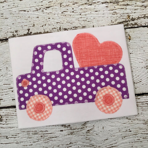 Cute Truck Heart Zig Zag Stitch Applique Design - Hug A Bug Applique Designs