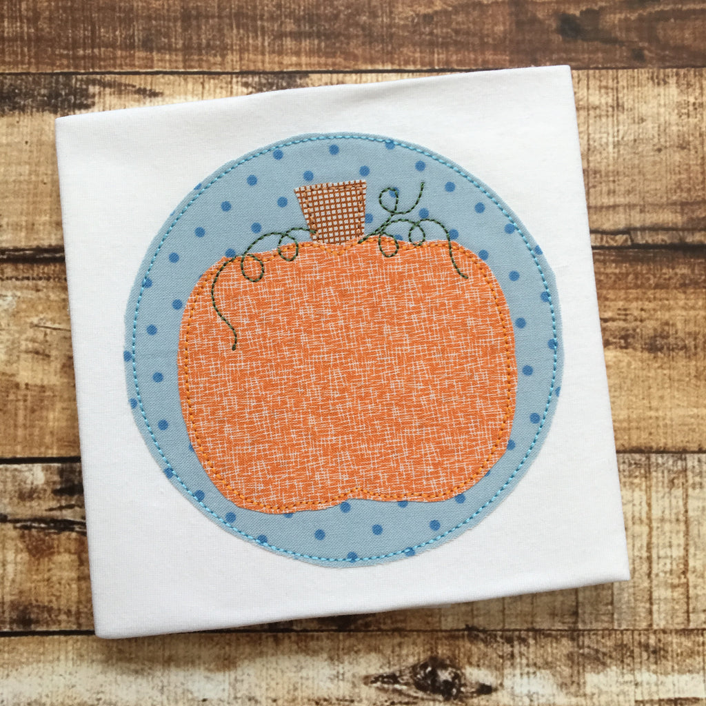 Pumpkin Circle Bean Stitch Applique Design - Hug A Bug Applique Designs