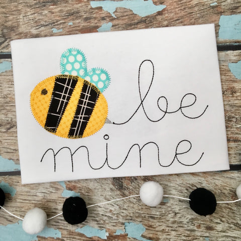 Be Mine Bee Zig Zag Stitch Applique Design - Hug A Bug Applique Designs