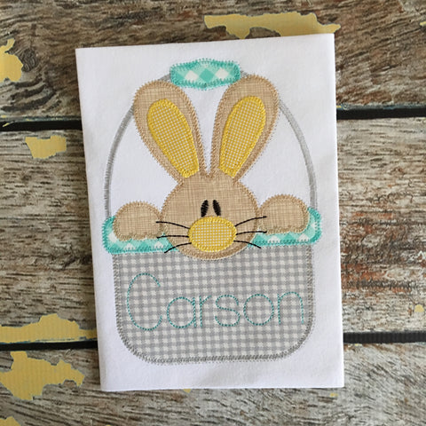 Bunny Boy Basket Zig Zag Stitch Applique Design
