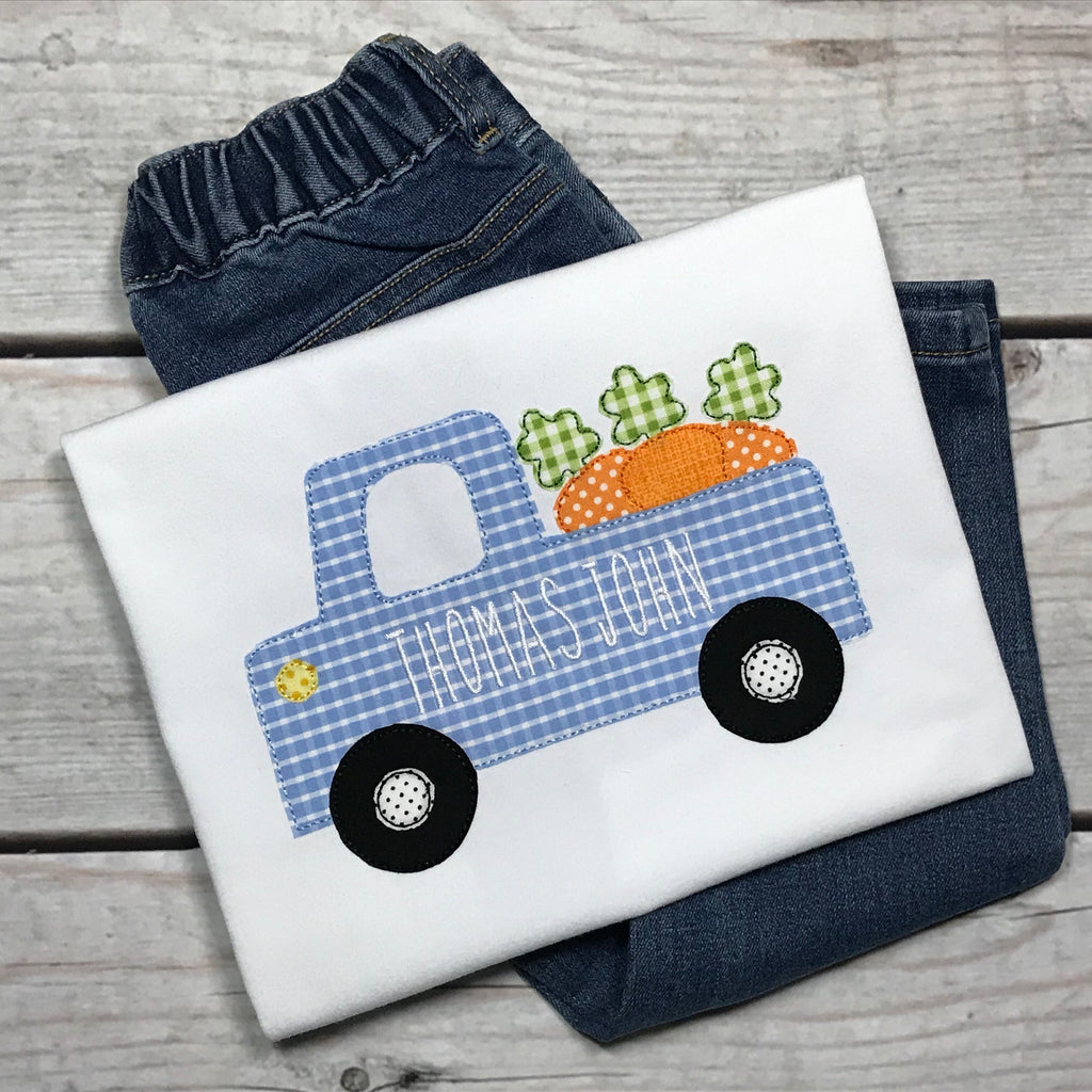 Cute Truck Carrots Bean Stitch Applique Design