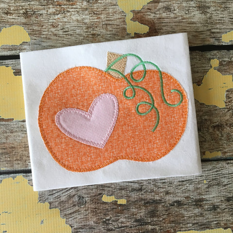 Pumpkin Heart Blanket Stitch Applique Design - Hug A Bug Applique Designs