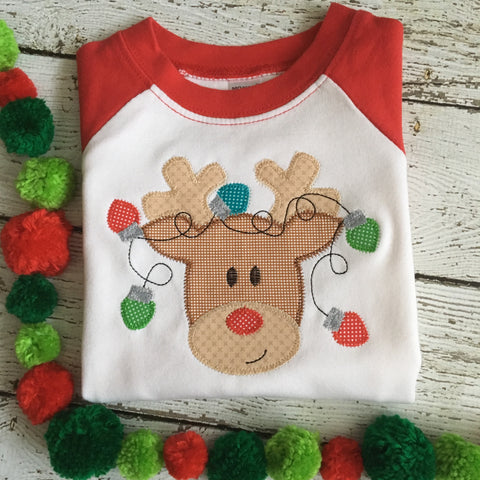 Rudolph Lights Zig Zag Stitch Applique Design - Hug A Bug Applique Designs