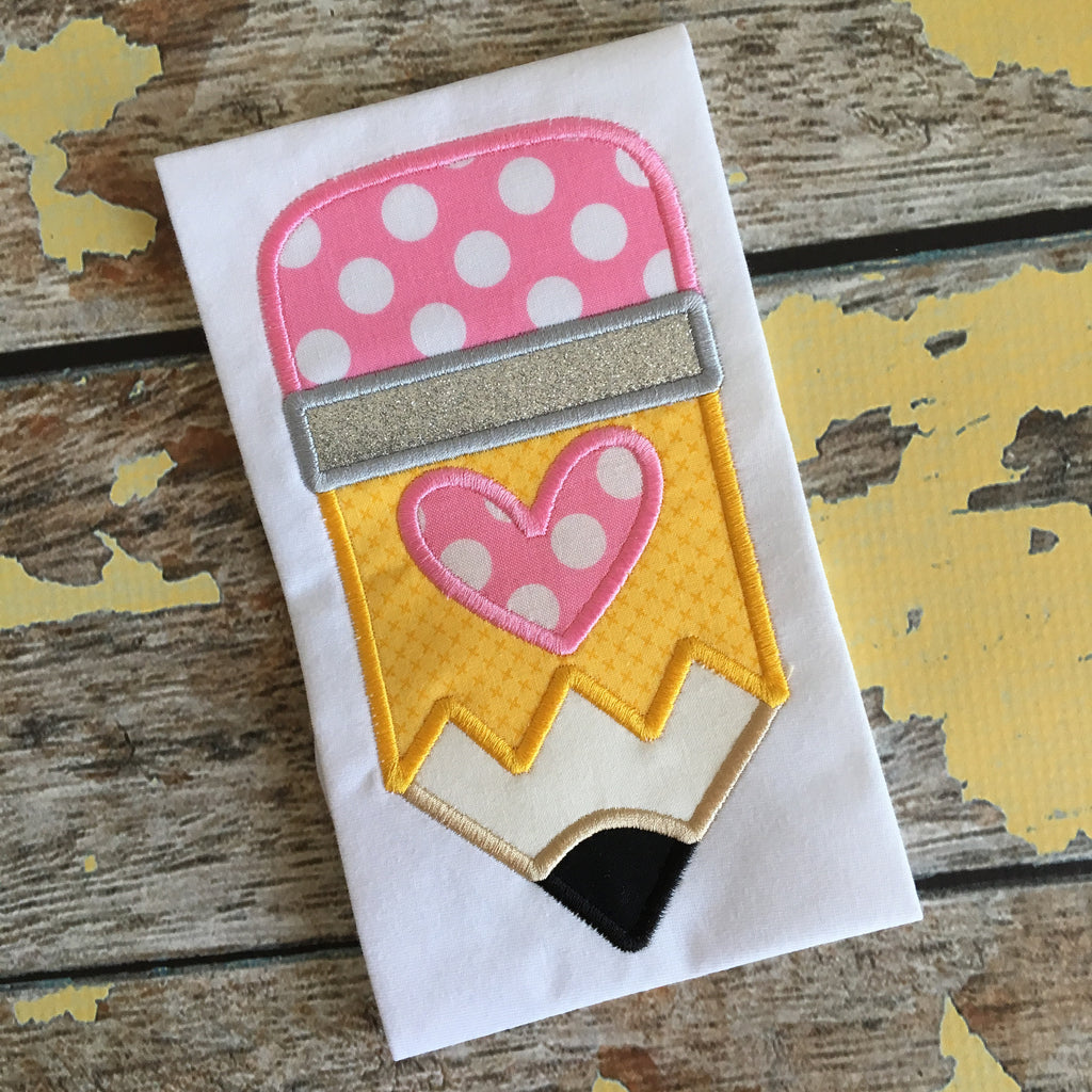 Pencil Heart Applique Design - Hug A Bug Applique Designs