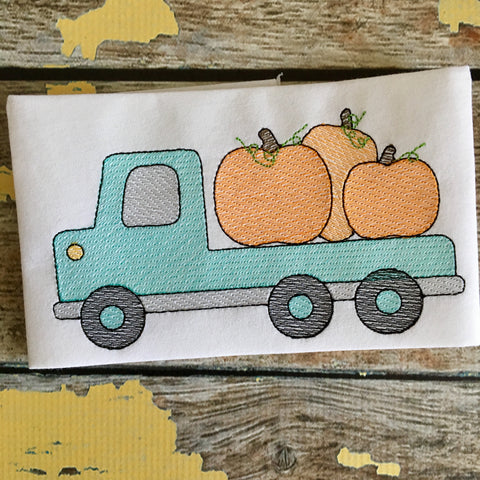 Flatbed Truck Pumpkin Sketch Embroidery Design - Hug A Bug Applique Designs