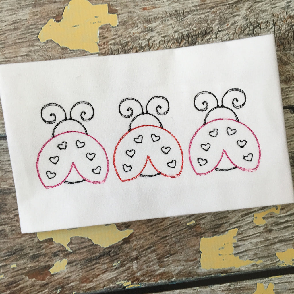 Ladybug Trio Scribble Stitch Embroidery Design - Hug A Bug Applique Designs