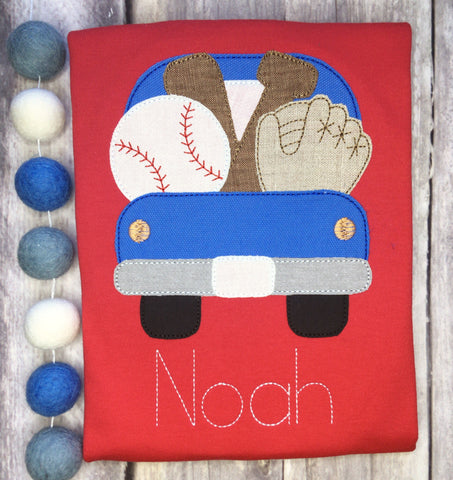 Baseball Truck Bean Stitch Applique Design