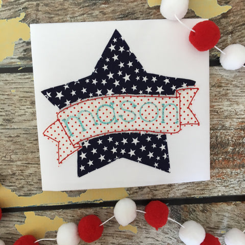 Star Banner Bean Stitch Applique Design