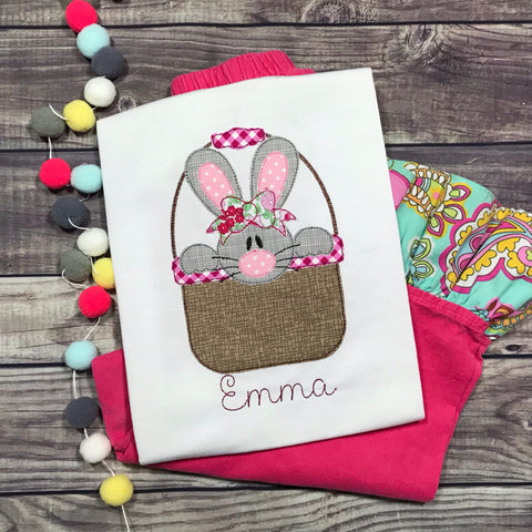 Bunny Girl Basket Bean Stitch Applique Design
