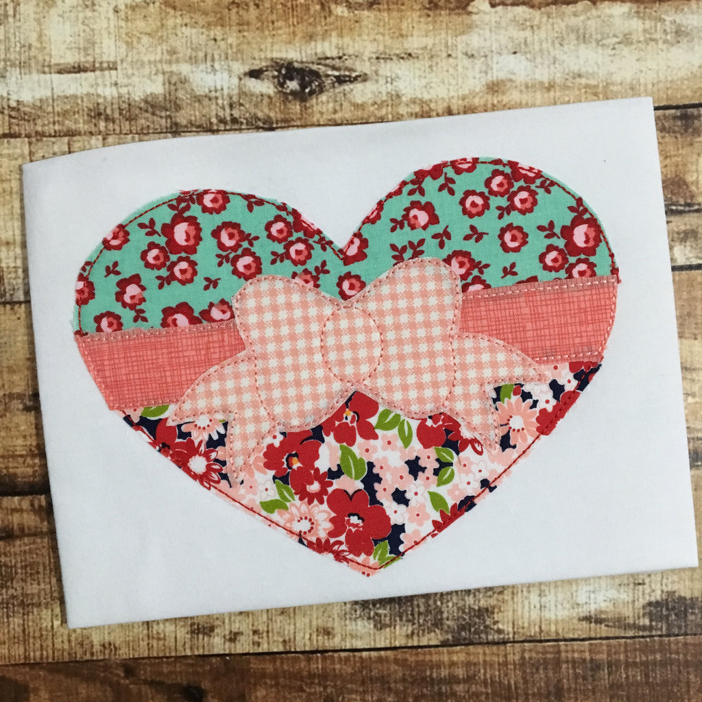 Bow Heart Bean Stitch Applique Design