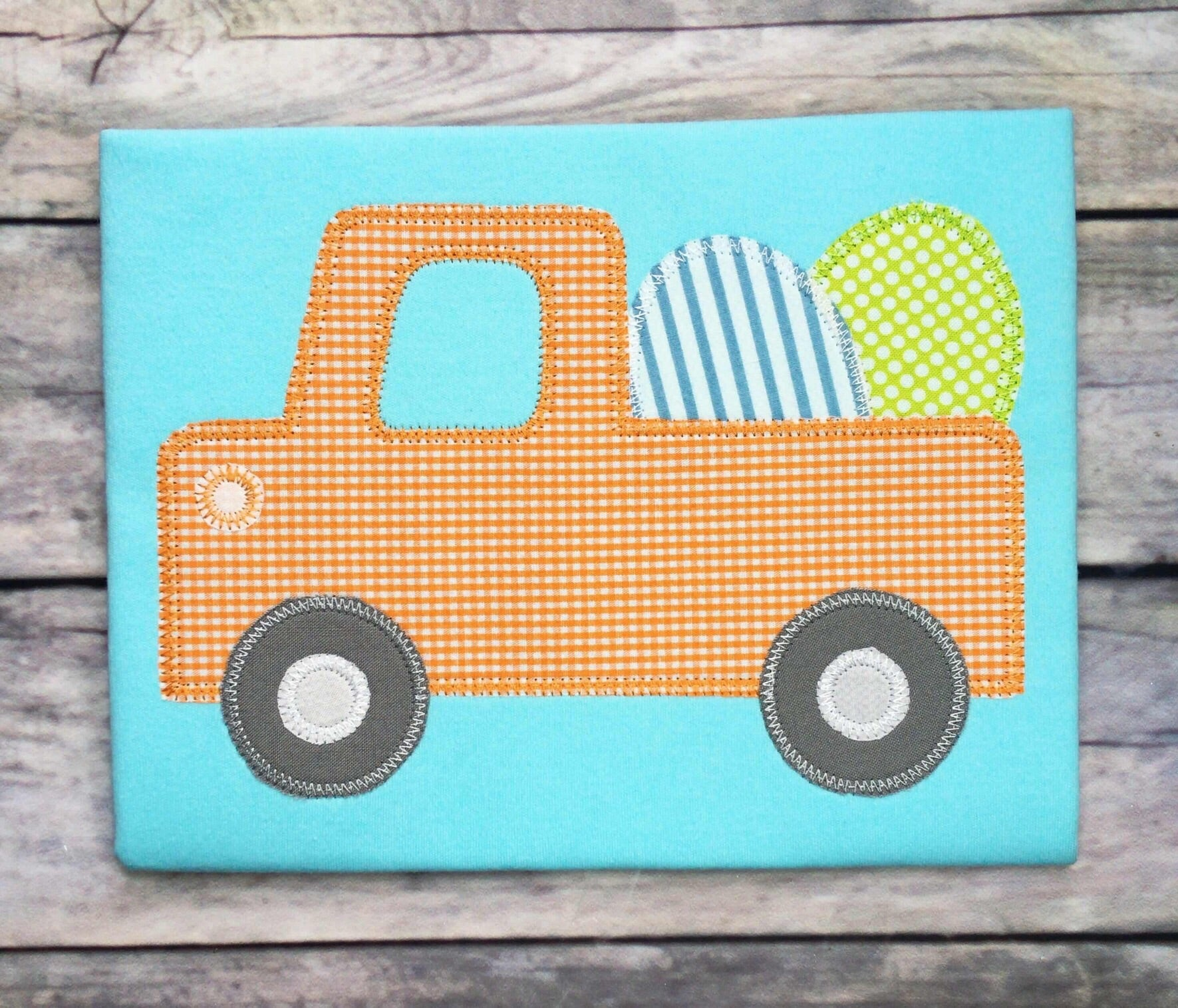 Cute Truck Eggs Zig Zag Stitch Applique Design
