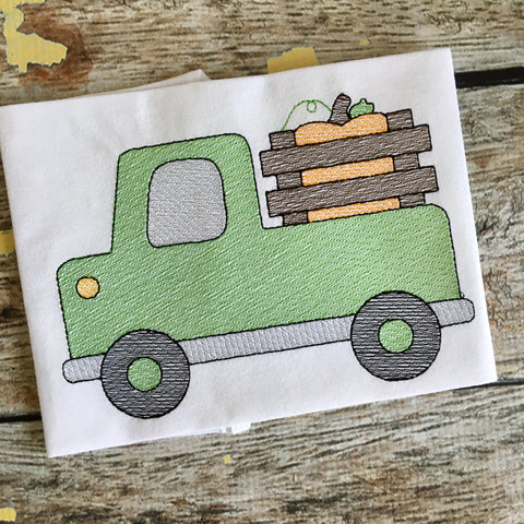 Cute Truck Pumpkin Sketch Embroidery Design - Hug A Bug Applique Designs