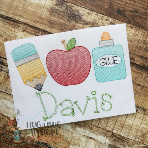Pencil Apple Glue Trio Sketch Embroidery Design