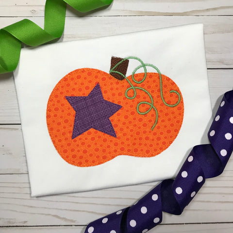 Pumpkin Star Blanket Stitch Applique Design - Hug A Bug Applique Designs