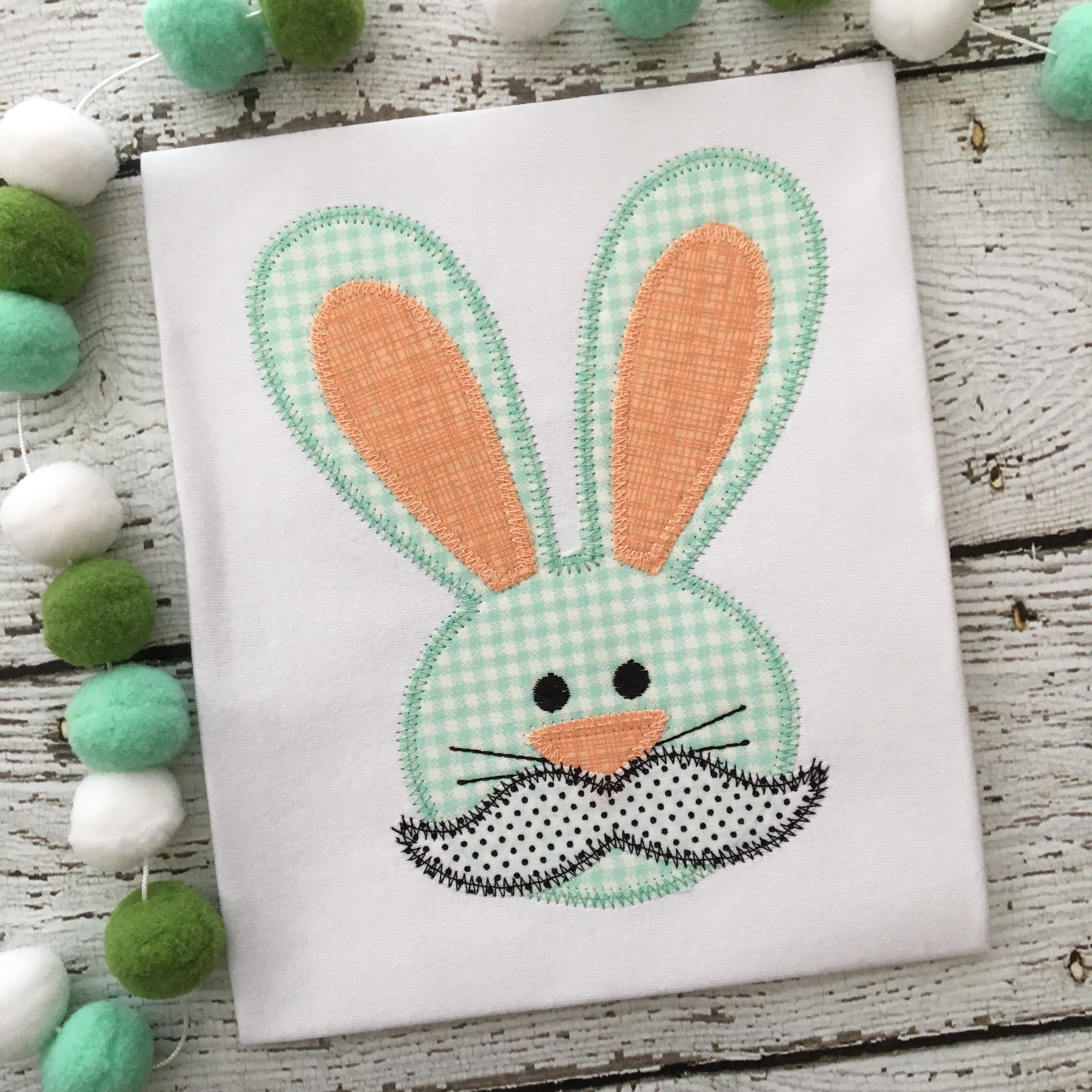 Rabbit Mustache Zig Zag Stitch Applique Design