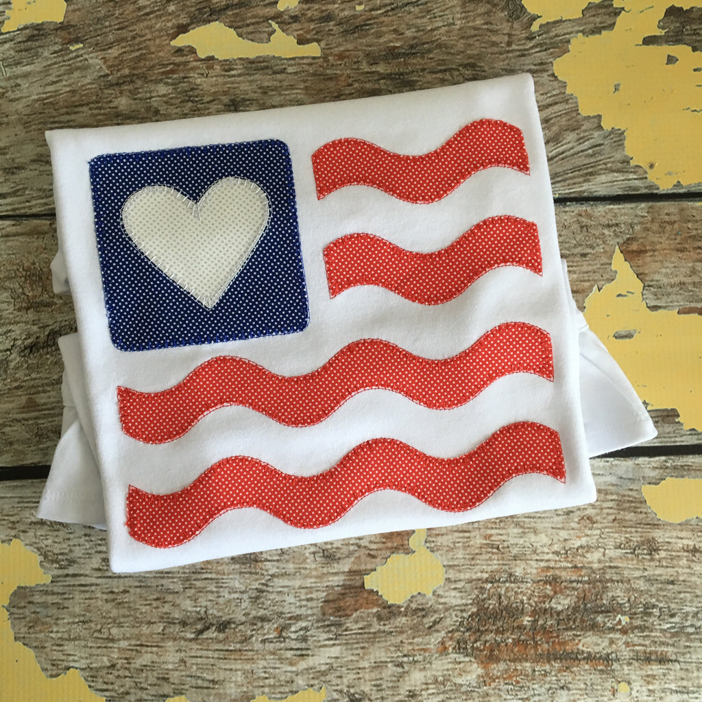 Flag Heart Wave Blanket Stitch Applique Design - Hug A Bug Applique Designs