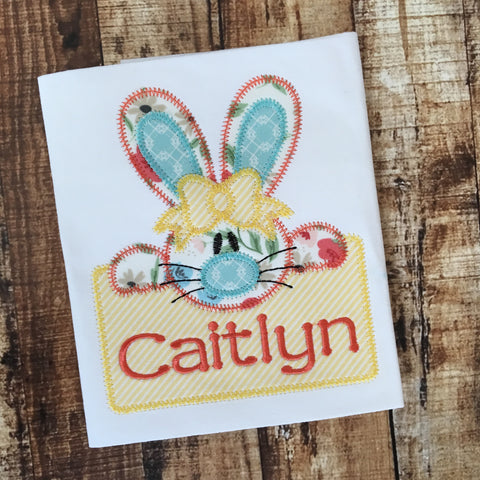 Bunny Girl Box Zig Zag Stitch Applique Design