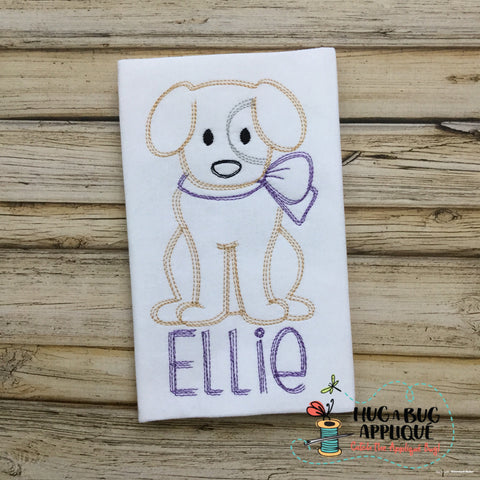 Dog Bow Scribble Stitch Embroidery Design
