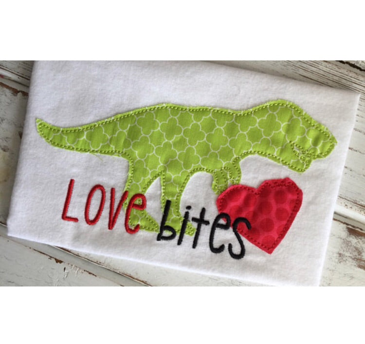 Love Bites Dino - Hug A Bug Applique Designs