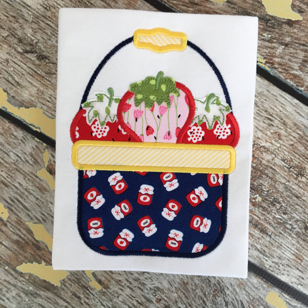 Strawberry Basket Satin Stitch Applique Design