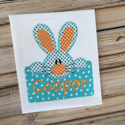 Bunny Boy Box Zig Zag Stitch Applique Design