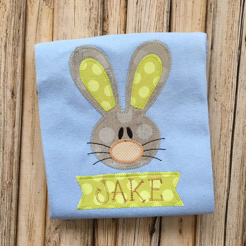 Rabbit Boy Zig Zag Stitch Applique Design