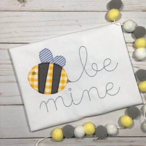 Be Mine Bee Bean Stitch Applique Design - Hug A Bug Applique Designs