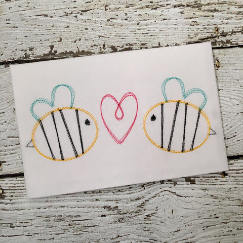 Bees Heart Trio Scribble Stitch Embroidery Design