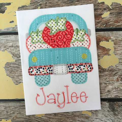 Strawberry Truck Zig Zag Stitch Applique Design