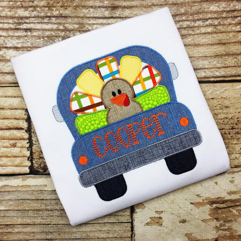 Turkey Truck Zig Zag Stitch Applique Design