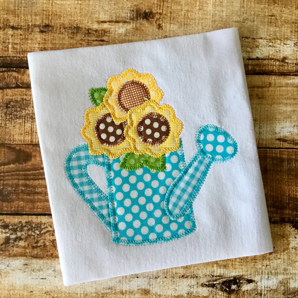 Watering Can Flowers Zig Zag Stitch Applique Design - Hug A Bug Applique Designs