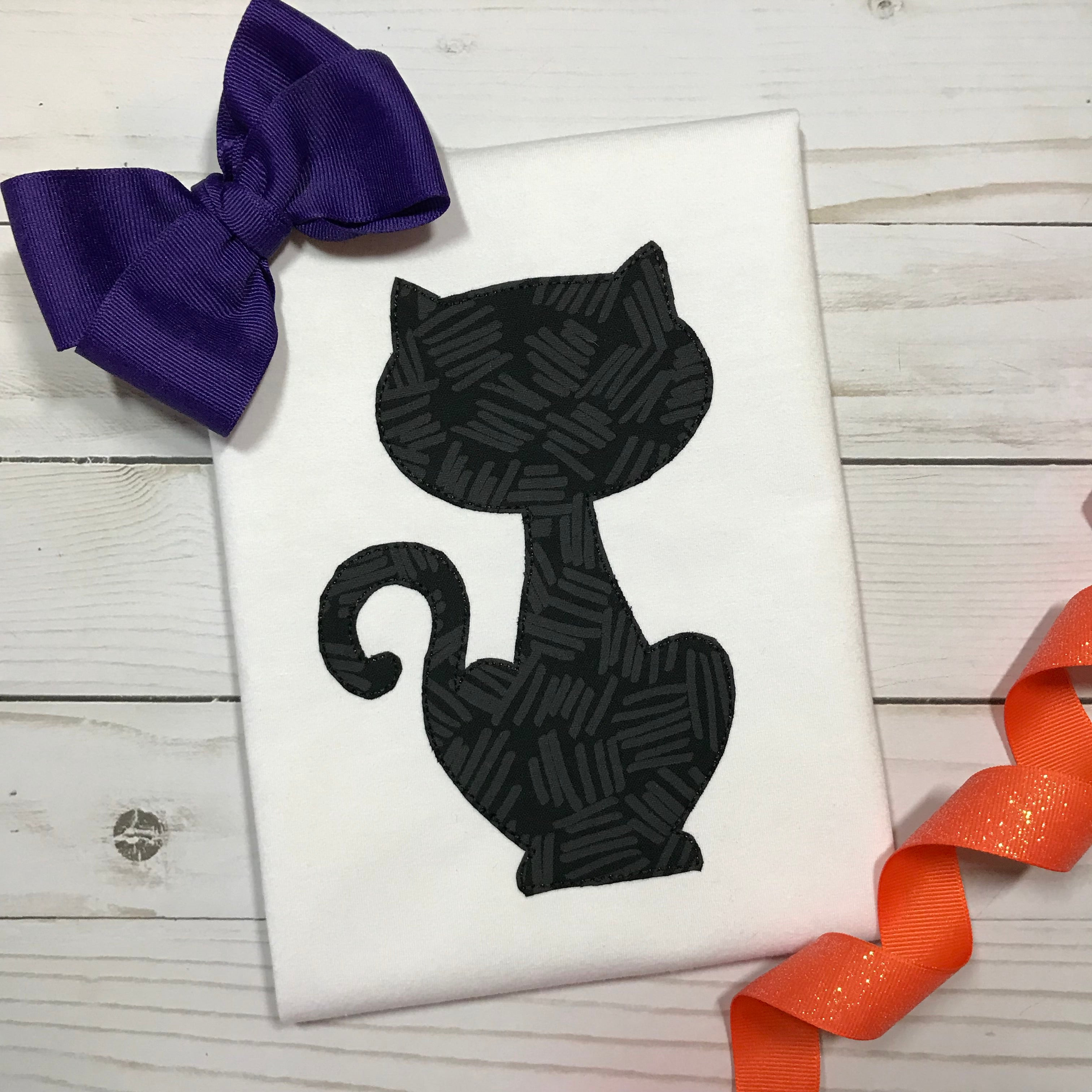 Black Cat Bean Stitch - Hug A Bug Applique Designs