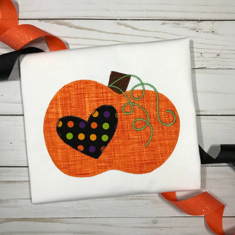 Pumpkin Heart Zig Zag Stitch Applique Design - Hug A Bug Applique Designs