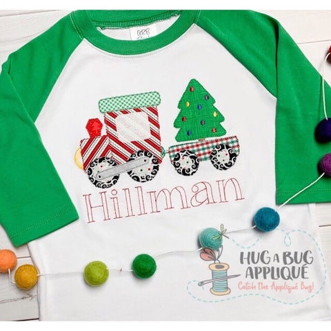 Christmas Train Bean Stitch Applique Design
