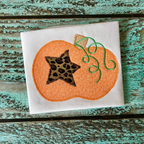 Pumpkin Star Zig Zag Stitch Applique Design - Hug A Bug Applique Designs