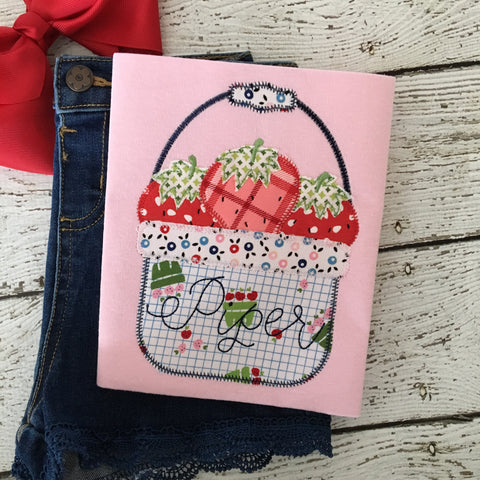 Strawberry Basket Zig Zag Stitch Applique Design